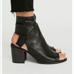 Free People Coleto Block Heel Black Leather